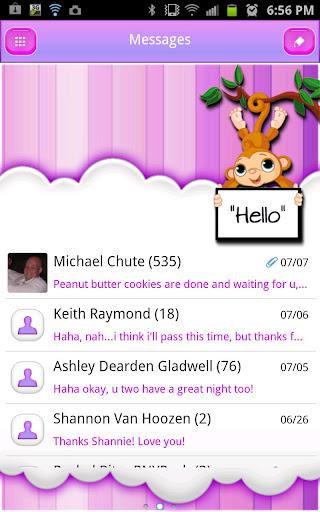 GO SMS THEME PurpleDreamMonkey