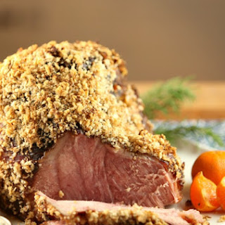 Horseradish Panko Crusted Ham with Horseradish Mustard Sauce {Low Calorie, Low Fat]