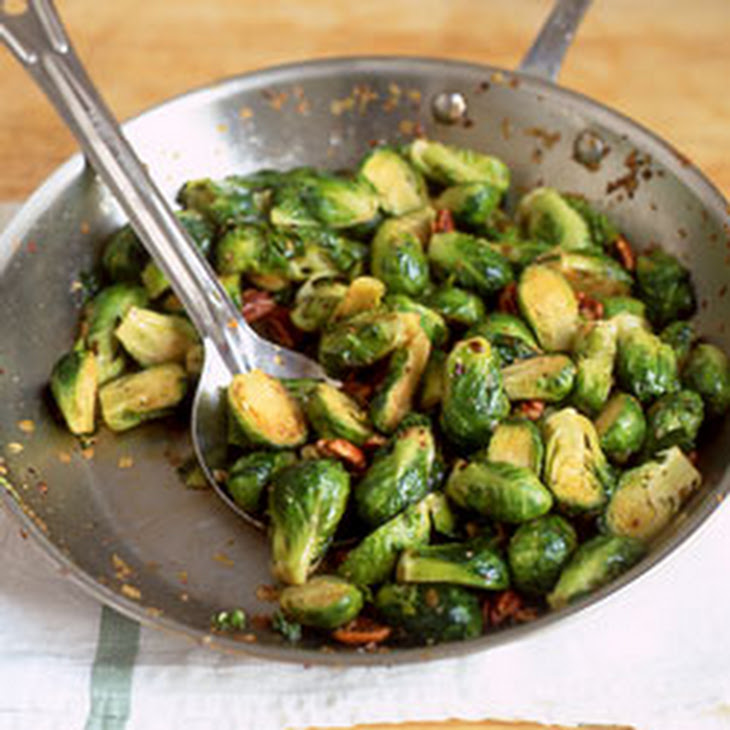 Sauteed Brussels Sprouts with Pecans Recipe | Yummly