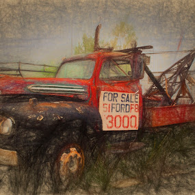 Vintage Ford Wrecker by Dennis Granzow - Digital Art Things ( wrecker, truck, transportation, ford, drawing )