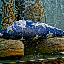 Boots and the Flag by Barbara Brock - News & Events US Events ( soldier; army; military; american flag; boots )
