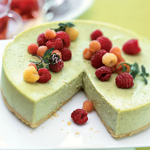 Green Tea Cheesecake with Raspberries and Raspberry-Mint Tisane