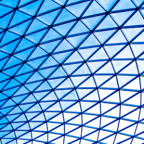 British Museum Great Court Glass Roof by Del Candler - Abstract Patterns ( roof, pattern, triangles, diamonds, blue, british museum, lines., glass, white, great court,  )