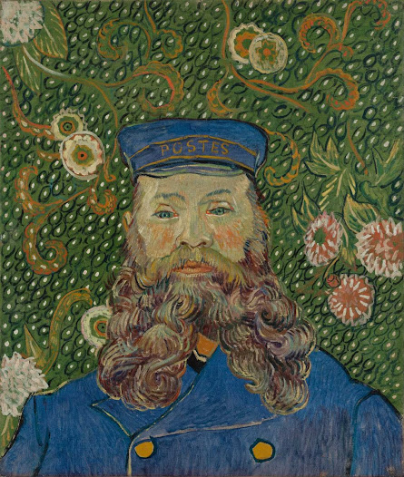 From MoMA.org: Joseph Roulin worked for a post office in the French town of Arles. He was not a letter carrier but rather held a higher position as an official sorting mail at the train station. Van Gogh and Roulin lived on the same street and became close friends. Van Gogh painted many portraits of Roulin. This picture, which van Gogh boasted of having completed quickly, in a single session, was painted after Roulin got a better-paying job and left Arles. Some scholars think that this portrait was not painted from life but rather from memory or from previous portraits. • Ask your students what they think can be learned about Joseph Roulin by looking at this portrait, keeping in mind costume, expression, pose, and background.