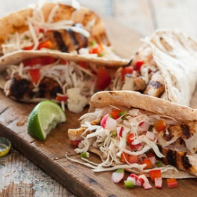 Grilled Paiche Tacos with Pickled Veggies