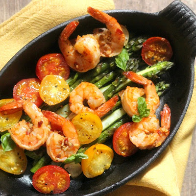 Spicy Shrimp with Roasted Asparagus & Cherry Tomatoes