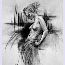 Untitled by Ashwini Dey - Drawing All Drawing ( sketch, charcoal, nude, art, sketching, ashwini dey, drawing )