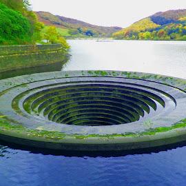 Ladybower reservoir plughole by Ruth Holt - Digital Art Places ( plughole, reservoir, ladybower, view, derbyshire )