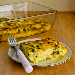 Broken Arm Breakfast Casserole with Cottage Cheese, Bacon, Feta, and Green Onions