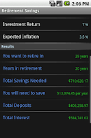 Screenshot of Retirement Calculator