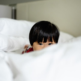 Peek-a-boo by Yung Phang - Babies & Children Toddlers ( linens, hotel, bedroom, pillows, eyes )