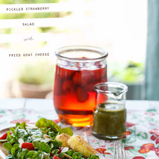 Purslane and Pickled Strawberry Salad with Fried Goat Cheese