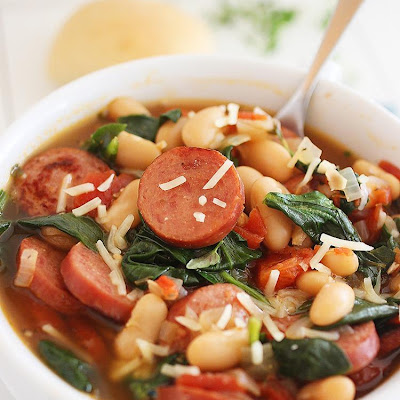 Smoked Sausage, Spinach and White Bean Soup