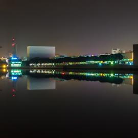 Night Reflections by Paulo Fernandes - Buildings & Architecture Public & Historical ( #oceanario, #reflections, #night, #parquedasnacoes, #lisbon )