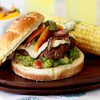 Fajita Burger with Peppers, Onions and Guacamole