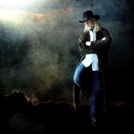 True Country by Bjørn Borge-Lunde - Digital Art People ( fantasy, clouds, cowboy, skies, portrait, man )