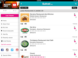 Screenshot of Sufrati Lite Restaurant Guide