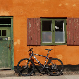 Bicycle in Copenhagen by Marijose Sosa - Transportation Bicycles ( orange, copenhagen, nyboder, old, green, bicycle )