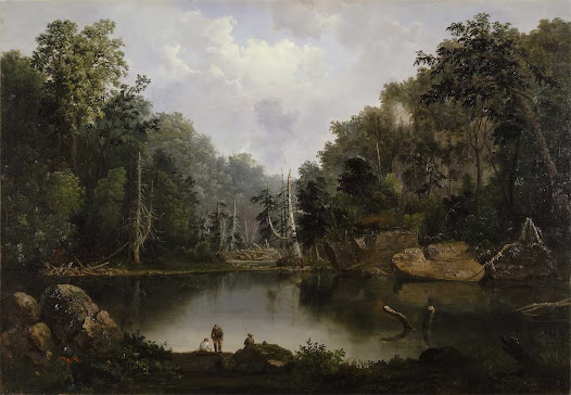 One of Longworth's beneficiaries was Cincinnati artist, Robert S. Duncanson, the first prominent African American artist in the U.S. Longworth commissioned Duncanson to create a series of murals at his home (which can still be seen today at the Taft Museum of Art). Duncanson's artwork highlighted the beauty and opportunity of the American landscape. Do you see any symbols of opportunity in this painting? This portion of the Little Miami River can still be seen at John Bryan State Park near Yellow Springs, OH.