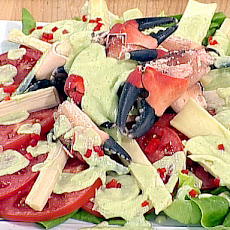 Hearts of Palm and Stone Crab Salad with Avocado-Buttermilk Dressing