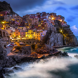Night at Manarola  by Tomas Vocelka - City,  Street & Park  Vistas ( cinque terre, liguria, vista, stromy, night, tourism, view, manarola, italy )
