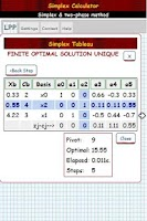 Screenshot of Simplex Algorithm Calculator