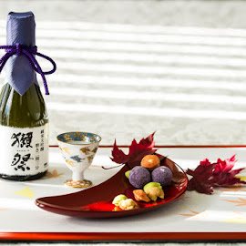 Sake and Treats by Michael Holser - Food & Drink Alcohol & Drinks ( treats, sake, fall, salty snack, leaves )