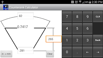 Screenshot of Countersink Calculator