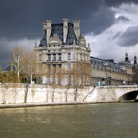 A view of the Louvre from the river by Dražen Komadina - City,  Street & Park  Street Scenes ( paris, la seine, louvre, france )