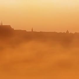 Sunrise on Prague morning by Adam Palát - City,  Street & Park  Street Scenes ( clouds, moldau, foggy, fog, czech, castle, sunrise, morning, prague, sun, mist, river,  )