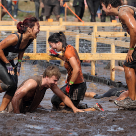 Muddy fun by Howard Ferrier - Sports & Fitness Other Sports ( laughing, mud, event, sports, dirty, group, tough mudder )
