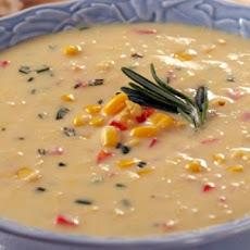 Corn Bisque with Red Bell Pepper and Rosemary