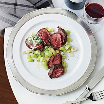 Grilled Hanger Steak with Garlic-Brandy Butter