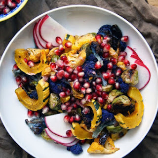 Roasted Autumn Vegetables and Pomegranate-Horseradish Topping