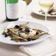Fish with Olives, Pine Nuts, Basil and Wine