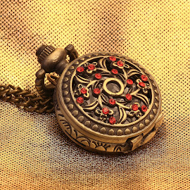 pocket Watch by Charles KAVYS - Artistic Objects Still Life ( pocket watch, red, watch, gold, jewelery,  )