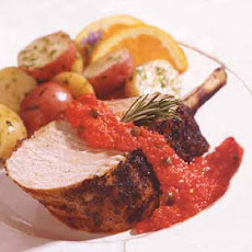 Grilled Tuscan Pork Rib Roast with Rosemary Coating and Red Pepper Relish