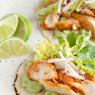 Spicy Fish Tacos with Avocado-Yogurt Sauce
