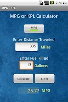 Screenshot of Fuel MPG & KPL Calculator