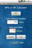 Screenshot of Fuel MPG & KPL Calculator