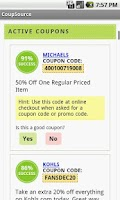 Screenshot of Coupon Code App - CoupSource
