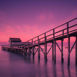 Shelly Beach Pier by Priyantha Bhareti - Landscapes Sunsets & Sunrises ( water, silk, smooth, purple, melbourne, australia, pier, long exposure, pink, shelly beach )
