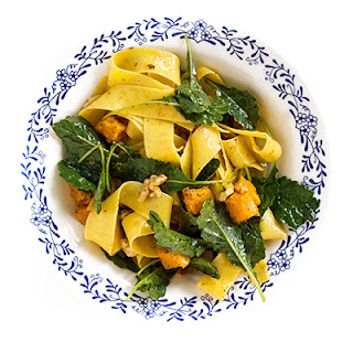 Pappardelle with Butternut Squash, Walnuts, and Baby Kale