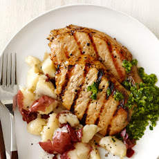 Pork Chops With Smashed Potatoes and Chimichurri Sauce