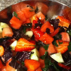 Cucumber, Watermelon and Strawberry Salad With Shiso