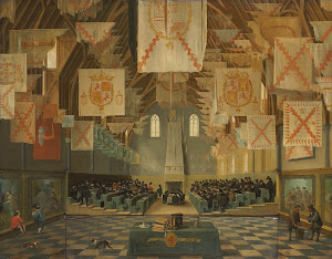 RIJKS: Bartholomeus van Bassen, Anthonie Palamedesz.: The Ridderzaal of the Binnenhof during the Great Assembly of 1651 1651