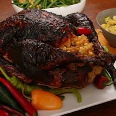 Mole-Roasted Turkey with Masa Stuffing and Chile Gravy