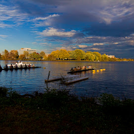 Sunset sculling practice session by Pete Bobb - Sports & Fitness Other Sports ( teamwork, sculling, autumn, rowing, cooper river )