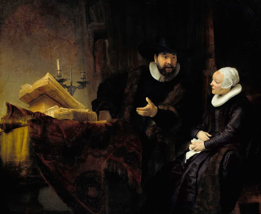 Rembrandt van Rjin, il mennonita Anslo e moglie