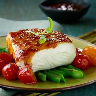 Glazed Fish with Roasted Asparagus and Cherry Tomatoes